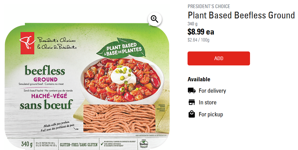 loblaws presidents choice meatless ground beef2.png
